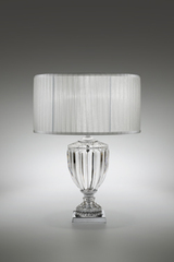 Large carved crystal table lamp and pleated shade 58cm. Italamp.