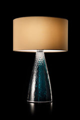 Turquoise blue carved glass table lamp. Italamp.