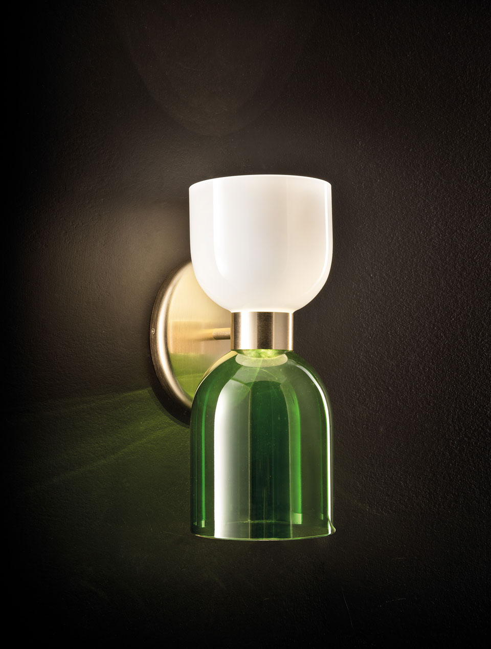 Caterina green and white opal glass wall lamp. Italamp.