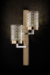 Contemporary wall light 2 lights gold and chrome Quarzo. Italamp.
