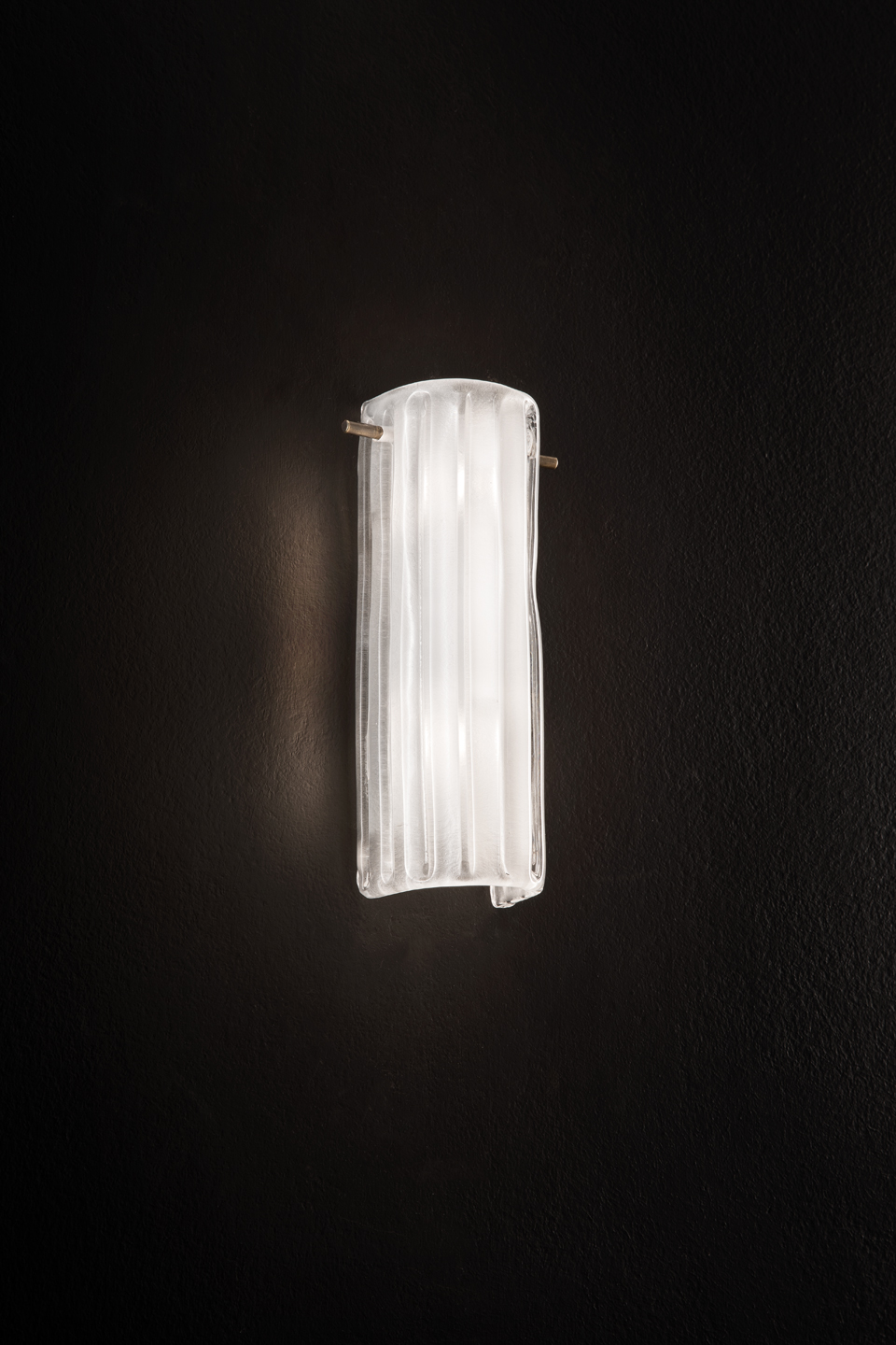 Wall lamp in satin glass and small bronze structure. Italamp.