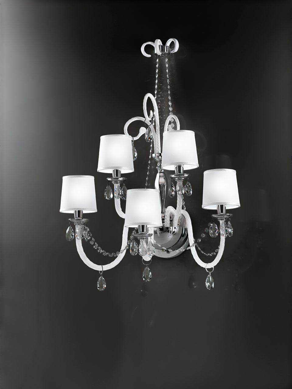 Large 5 lights white glass wall sconce with ivory shade LENOIR. Italamp.