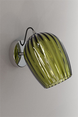 Nuce wall lamp in olive green blown glass. Italamp.