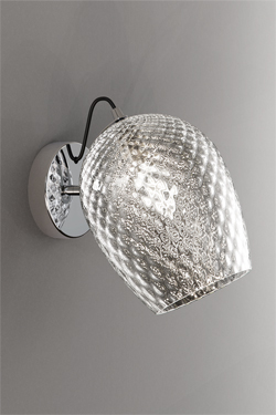 Nuce wall lamp in transparent blown glass. Italamp.