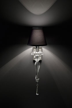 Transparent carved crystal wall lamp and black lampshade. Italamp.