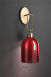 Valentina retro wall lamp with red shade bell shape. Italamp.