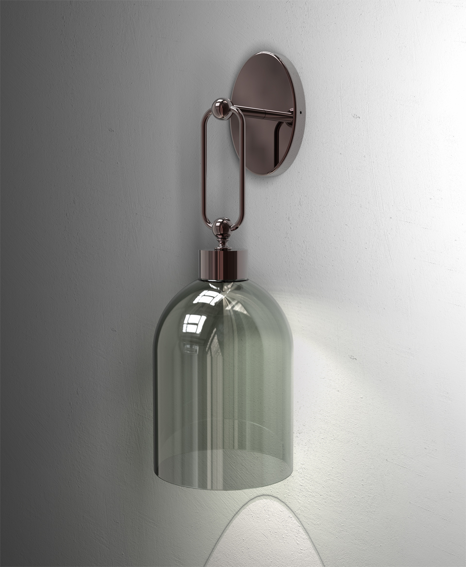 Valentina retro wall lamp with smoked shade in bell shape. Italamp.