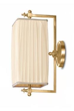 Babylone PM applique rectangulaire à cardan bronze doré et soie plissée ivoire. Jacques Garcia.