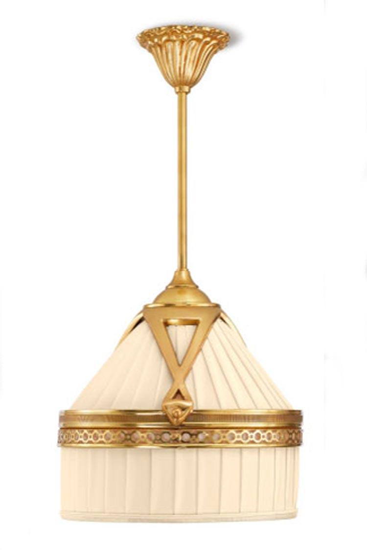 Margot suspension en bronze doré abat-jour ivoire en soie plissée ...
