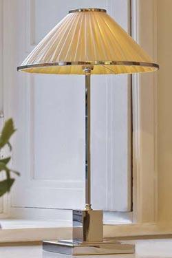 Soho lampe conique bronze chromé et soie ivoire. Jacques Garcia.