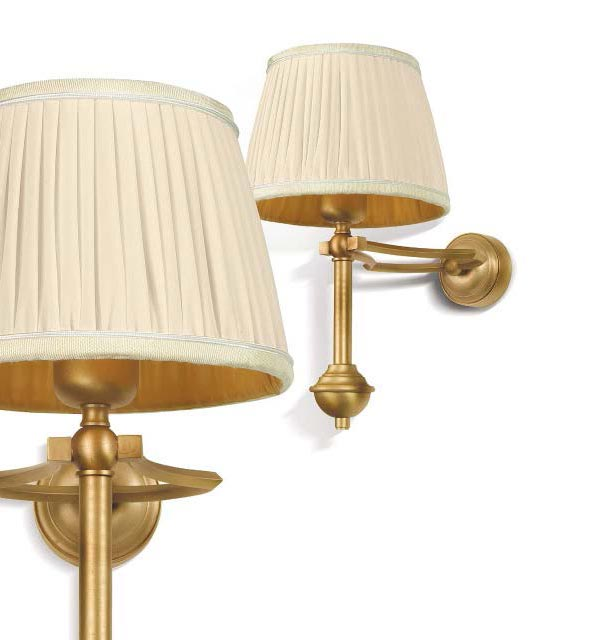 Diane wall lamp two arms gilded bronze and ivory lampshade. Jacques Garcia.