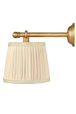 Figaro L wall lamp in gilt bronze and ivory pleated silk lampshade. Jacques Garcia.