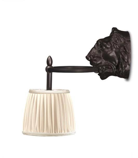 Old antique bronze lion head patina wall lamp. Jacques Garcia.