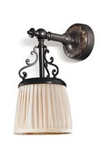 Violetta antique bronze small sconce and ivory pleated shade. Jacques Garcia.