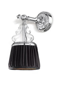 Violetta small sconce in chrome-plated bronze and black pleated shade. Jacques Garcia.