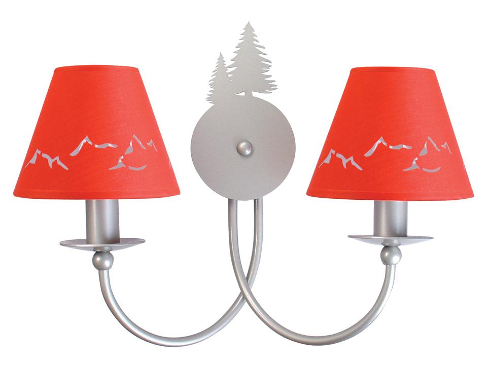 Applique deux lumières en métal argenté silhouettes de sapins. JP Ryckaert.