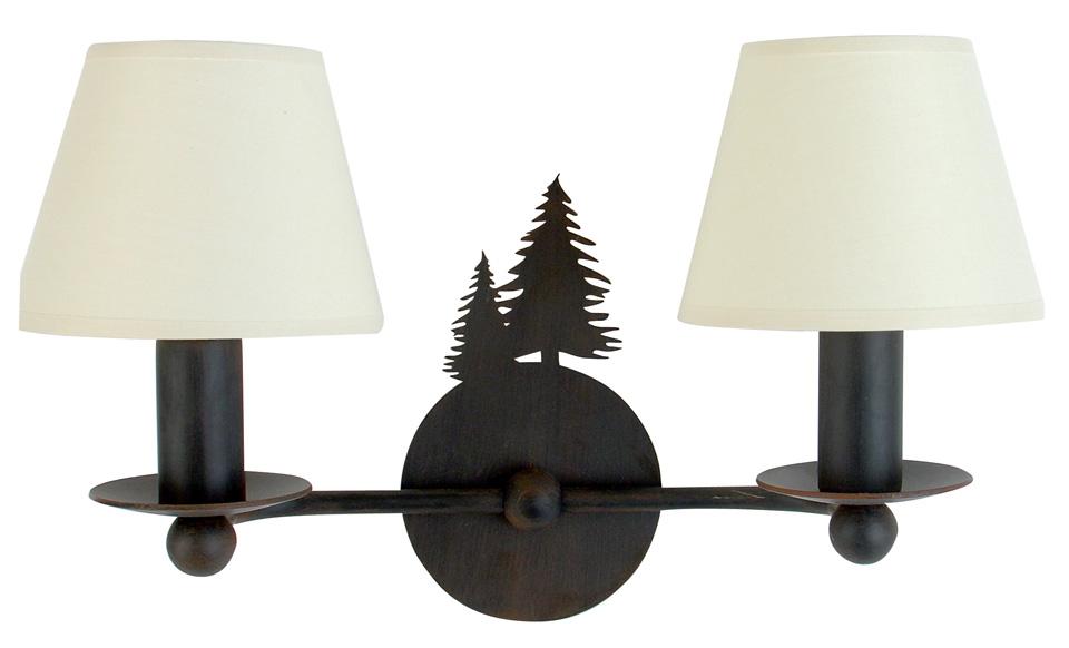 Applique deux lumières, deux silhouettes de sapins, abat-jour en cotonnette. JP Ryckaert.