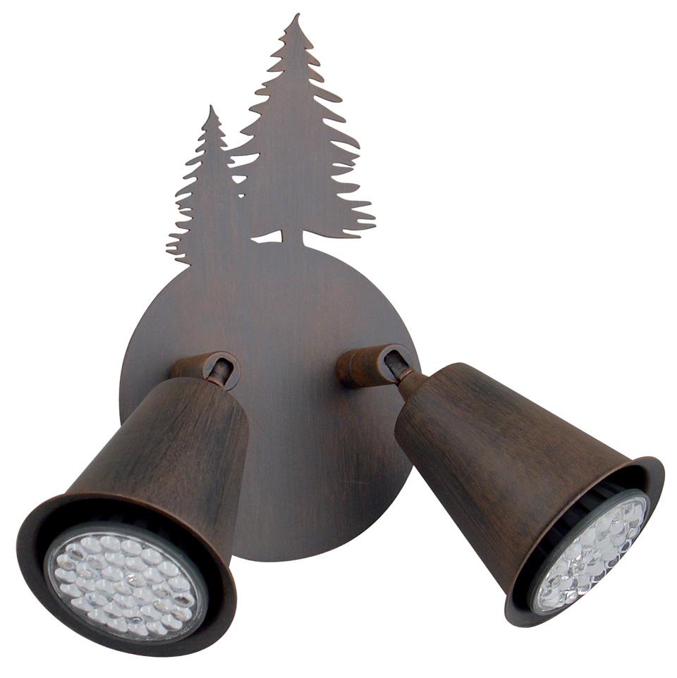 Applique 2 spots Sapins en métal patiné Montagne. JP Ryckaert.