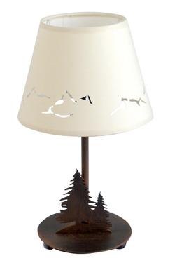 Lampe de table ou de chevet sapins et cîmes style Montagne. JP Ryckaert.