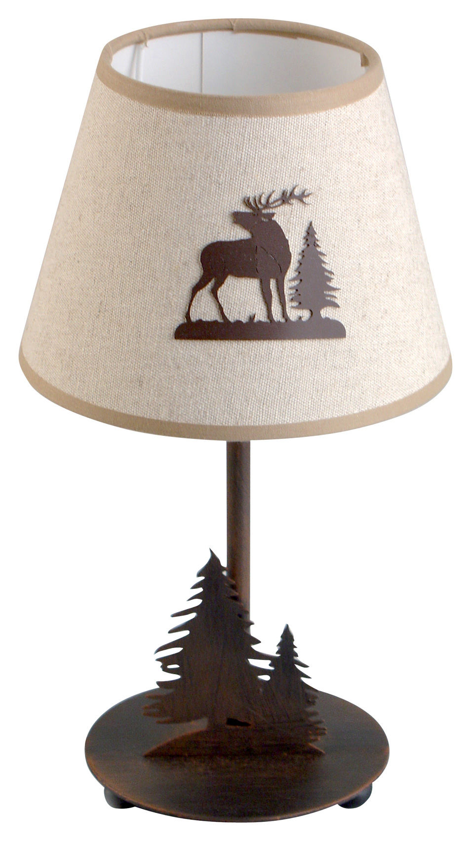 Lampe de table ou de chevet style Montagne motif cerf. JP Ryckaert.