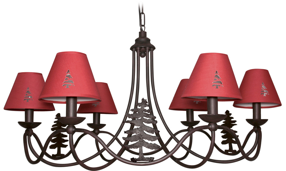 lustre 6 branches montagne abat jour rouges r f 17090023. Black Bedroom Furniture Sets. Home Design Ideas