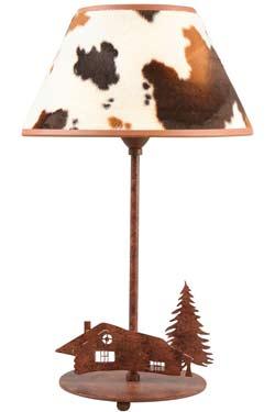 Peau de vache Lampe motif chalet. JP Ryckaert.