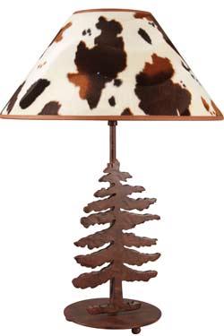 Peau de vache Lampe motif sapin. JP Ryckaert.