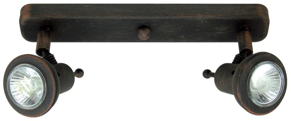 rampe de 2 spots montagne finition m tal noir patin r f. Black Bedroom Furniture Sets. Home Design Ideas