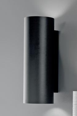 Applique murale en fibre de carbone noire Tube 40cm. Karboxx.