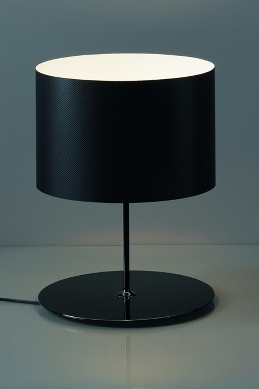 Lampe noire en fibre de carbone Half Moon intérieur ivoire. Karboxx.