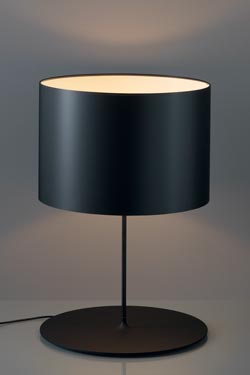 Large Half Moon in Black Carbon Fiber table lamp Ivory interior of lampshade. Karboxx.