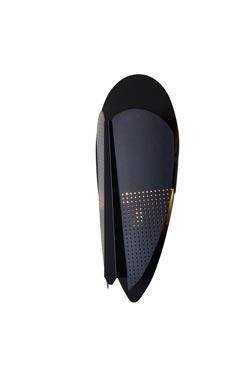 Black perforated metal wizard mask wall lamp. La Chance.