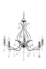 Palazzo chandelier in chromed metal 5 lights. Le Dauphin.