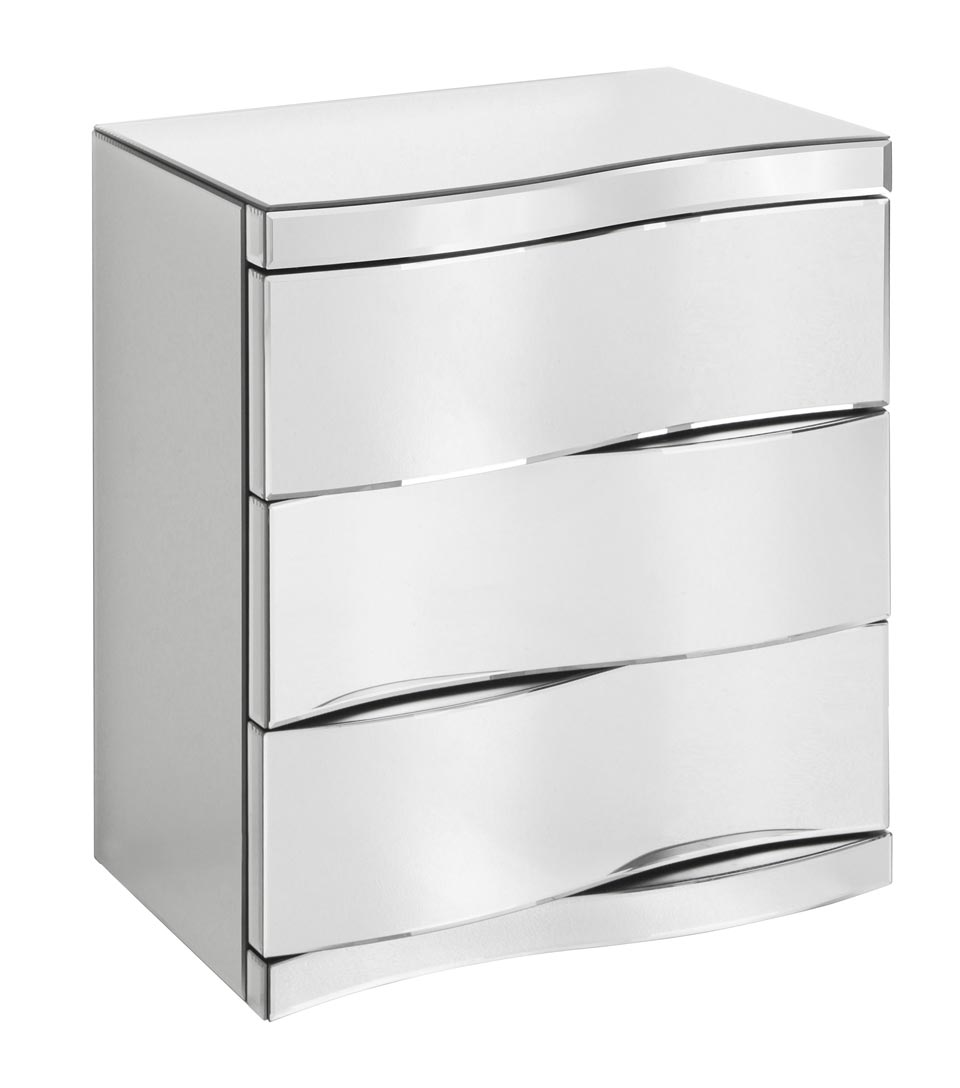 Chevet miroir 3 tiroirs montana r f 16030449 for Meuble avec plein de petit tiroir