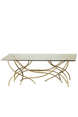 Golden coffee table Sarment . Le Dauphin.