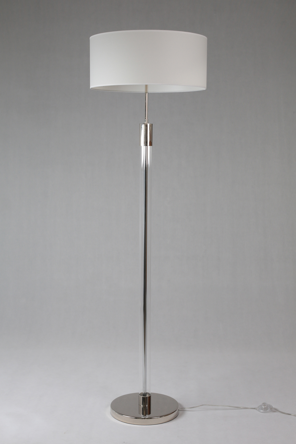 Gl And Metal Floor Lamp Cylindrical White Lampshade