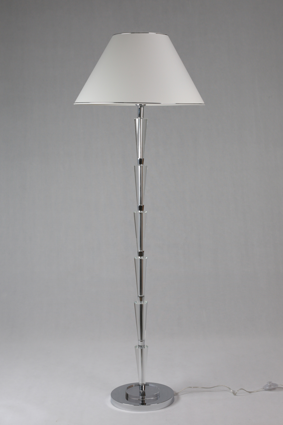 Floor Lamp In Glass White Lampshade And Chrome Edging Round Base