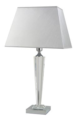 Grande lampe en verre optique et tissu gris Celya Ag  . Le Dauphin.
