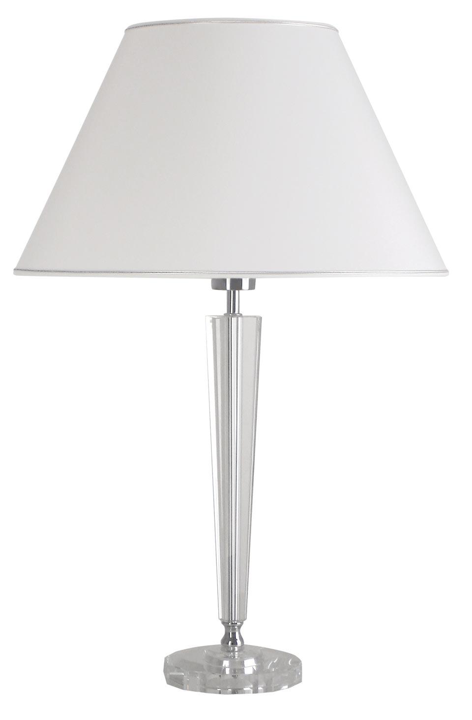 Lampe abat-jour blanc et en verre optique Henola B. Le Dauphin.