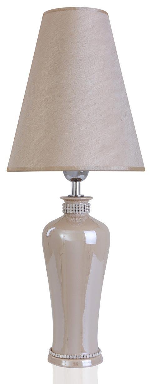 Lampe beige nacré en céramique  Laurana . Le Dauphin.