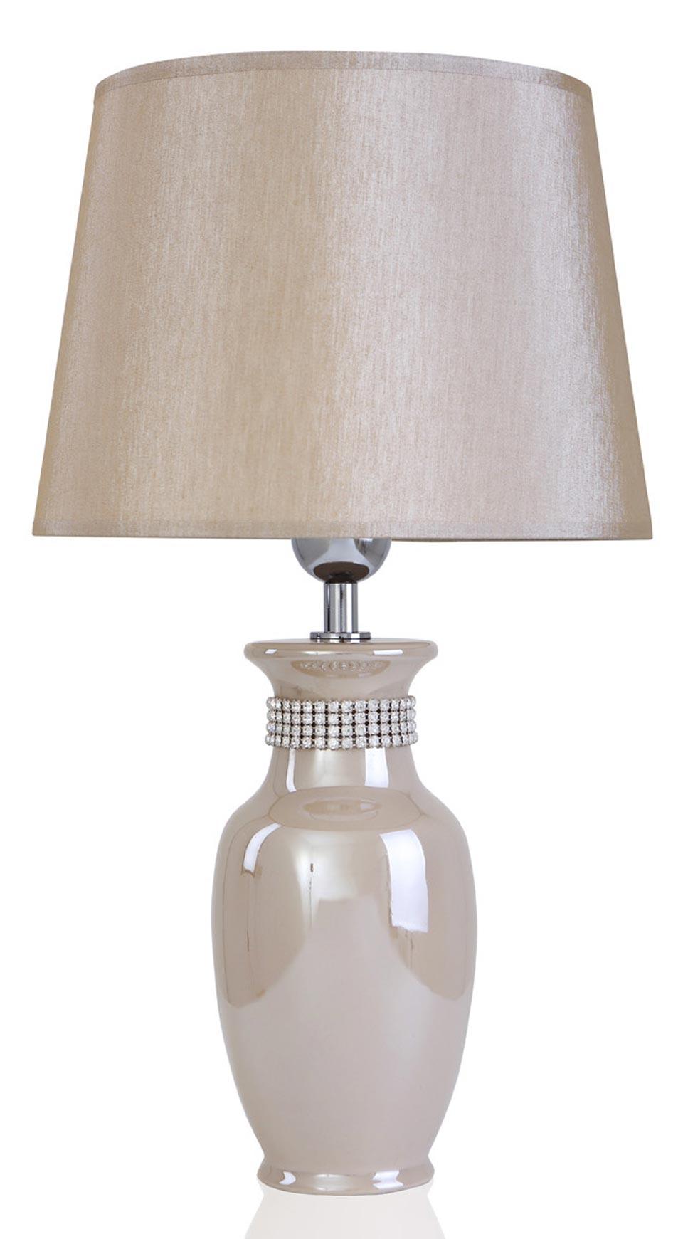 Lampe beige nacré et décor strass en céramique  Laura . Le Dauphin.