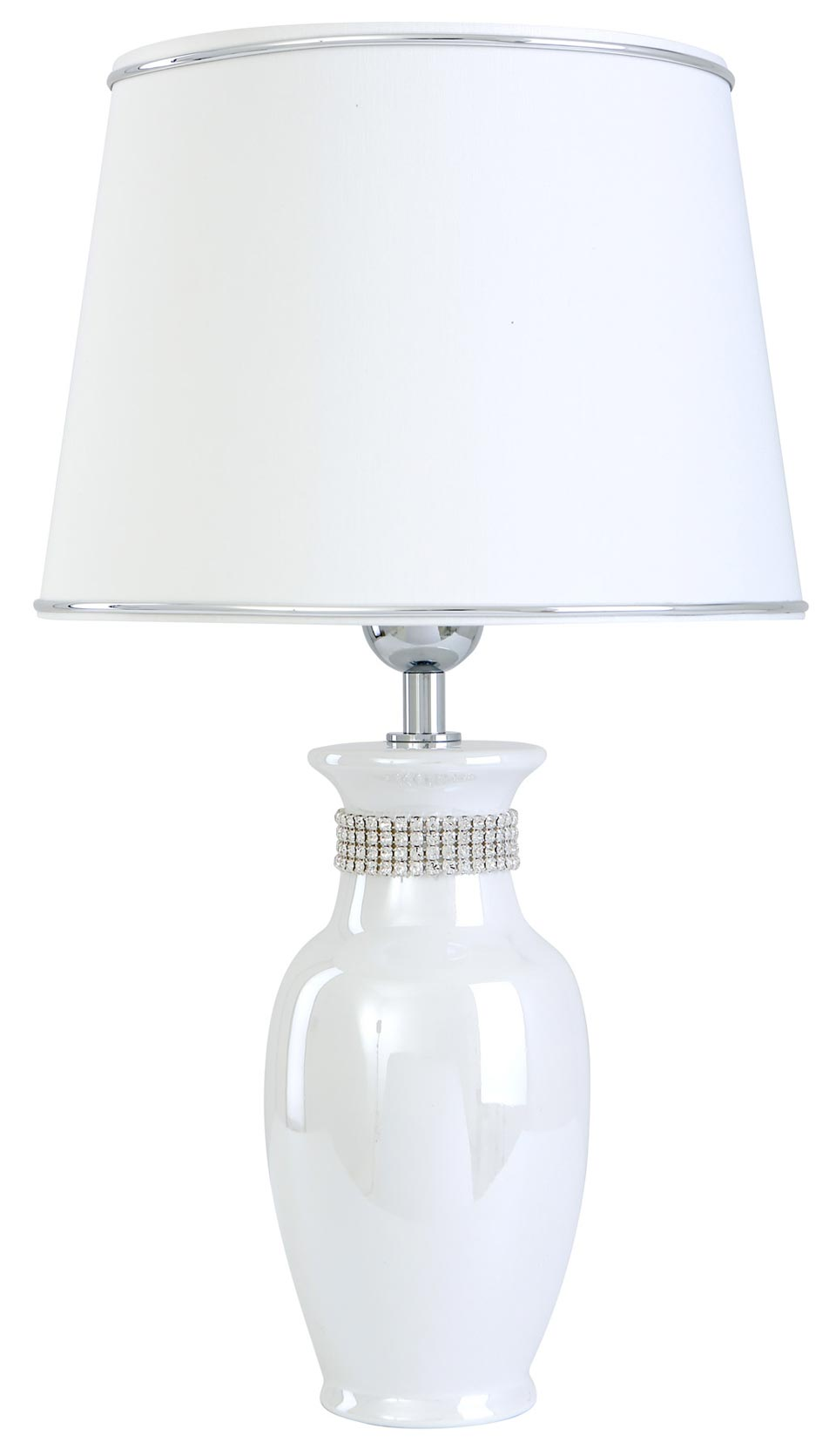 Lampe blanche nacrée en céramique  Laura . Le Dauphin.