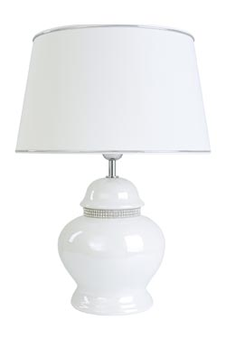 Lampe blanche nacrée en céramique Riviera . Le Dauphin.