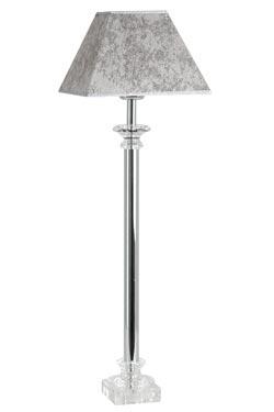 Lampe chromé avec abat-jour moiré gris en verre optique Bucigny . Le Dauphin.