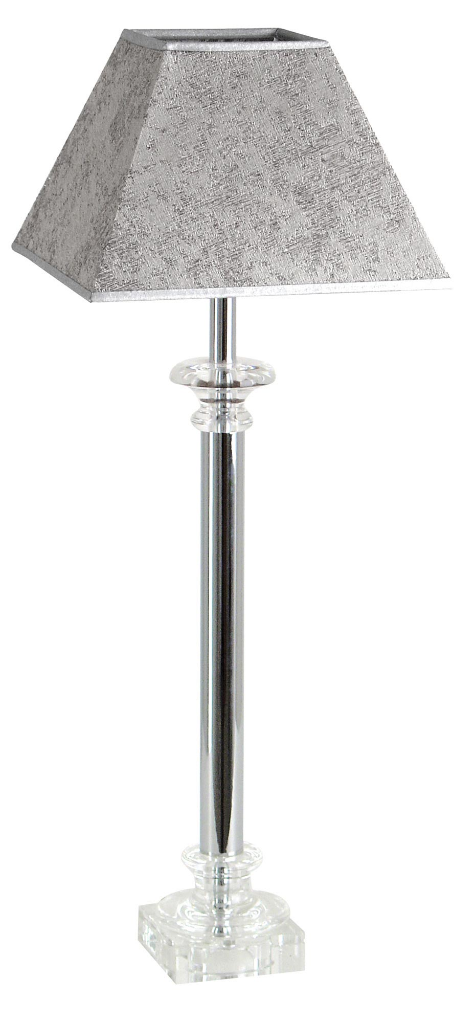 Lampe chromé en verre optique et abat-jour moiré gris Buci  . Le Dauphin.