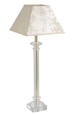 Lampe dorée abat-jour ivoire en verre optique Buci Or . Le Dauphin.