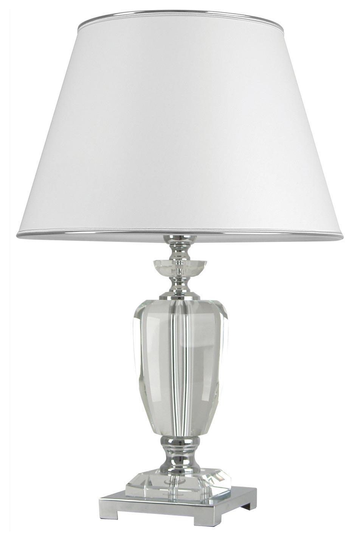Lampe en verre optique et abat-jour blanc Carma BJA . Le Dauphin.