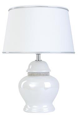 Lampe strass et   céramique  blanc nacré Rive . Le Dauphin.