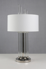 Moroni lampe de table chrome et verre. Le Dauphin.