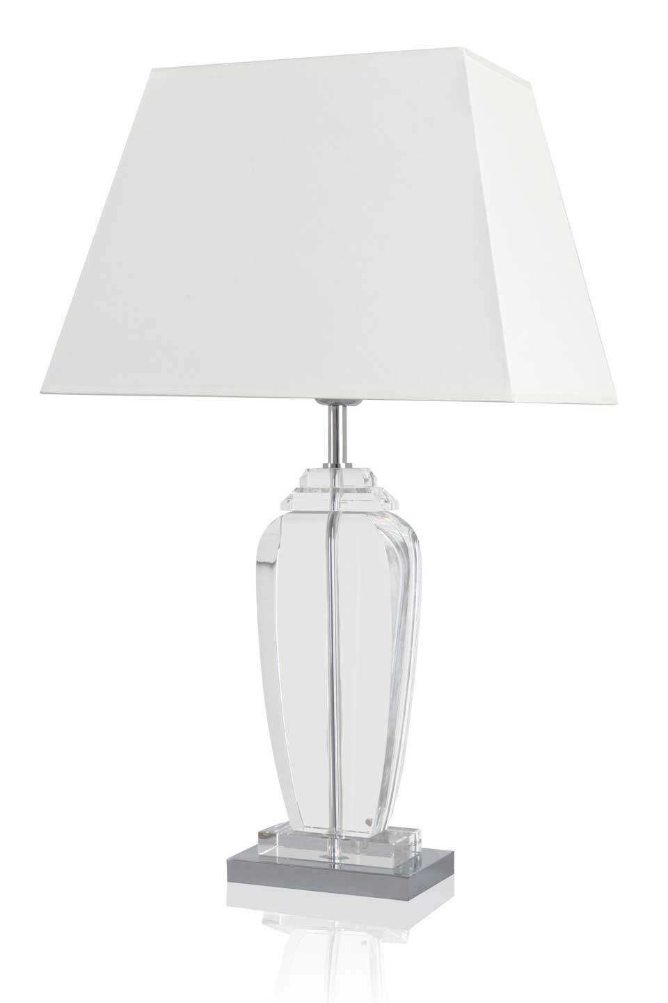 Chrome and optical glaas table lamp Bacaria with square base large size. Le Dauphin.